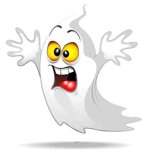 Scared Ghost Funny Halloween Cartoon Fantasma Spavento-Vector